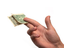One dollar in the hand Royalty Free Stock Photos