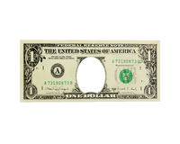 One dollar with hole instead president isolated. One dollar with hole instead American president isolated on the white. Funny currency for childish games Stock Photos