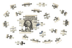 One dollar jigsaw. There is a banknote jigsaw in the photo. This banknote is a US silver one dollar certificate Stock Photography