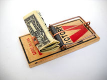 One dollar in a mouse trap Royalty Free Stock Photography