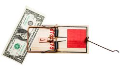 One dollar in mousetrap Stock Image