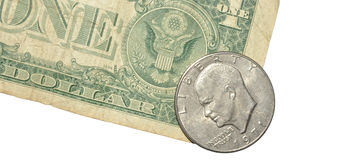 One Dollar Note And Coin Stock Photography