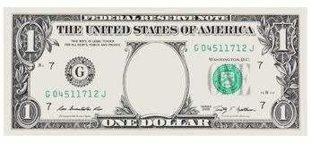 1 Dollar Bill Front with No Face frame for design isolated on white stock images