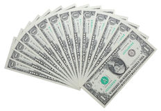 One dollar notes isolated over white Stock Photography