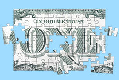 One Dollar Puzzle. Puzzle made from the In God We Trust area on the back of a one dollar bill stock image