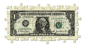 One Dollar Puzzle. Photo Illustration of a U.S. one dollar bill retouched and re-illustrated as a puzzle Royalty Free Stock Photos