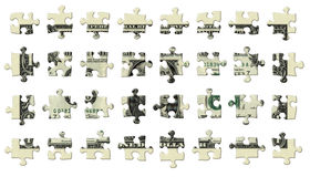 One Dollar Puzzle Pieces. Photo Illustration of a U.S. dollar bill retouched and re-illustrated as a 32 separate puzzle pieces isolated with a clipping path Stock Photography