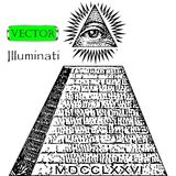 One dollar, pyramid. New world order. Illuminati symbols bill, masonic sign, all seeing eye vector.  Stock Images