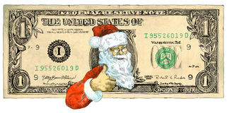One dollar Santa. Santa Claus also supports cheap Christmas (but not everyone knows ...). Full-sized (original) hand drawing. Technique: digital tablet. Number royalty free illustration