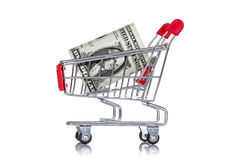 One dollar  in a shopping cart Royalty Free Stock Image