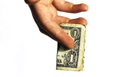 One dollar stretched in a hand the man Stock Photo