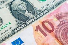 One dollar Ten Euro Royalty Free Stock Photos