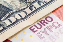 One dollar Ten Euro Royalty Free Stock Photo