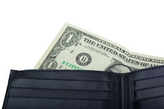 One dollar in a wallet Stock Photo