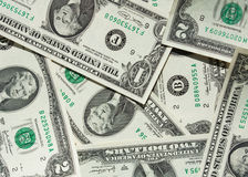 One-dollar and two-dollar bill Stock Images