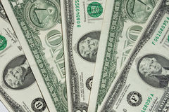 One-dollar and two-dollar bill Stock Image