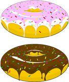 Two beautiful donuts with icing and chocolate sprinkled with candies, on an isolated background. vector illustration