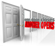 One Door Closes Another Opens New Opportunity Success From Failure. One Door Closes Another Opens words in 3d letters in a motivational or inspirational saying royalty free illustration