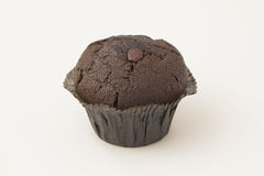 One Double Chocolate Muffin on a White Background Royalty Free Stock Photo