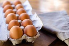 One Dozen Brown eggs Stock Photos