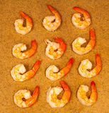 One Dozen Cooked Shrimp With Tails On Stock Photography