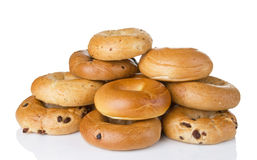 One Dozen Fresh Baked Bagels In Variety Of Flavors Stock Images