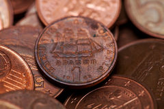 One drachmas, old Greek coin among euro coins. (macro shot, shallow DOF Royalty Free Stock Photo