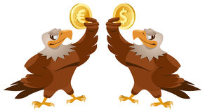 One eagle holding dollar symbol and another eagle holding euro s Stock Photos