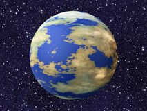One earth planet on many cosmos stars backgrounds. This is no nasa photo, this is render image Royalty Free Stock Photos