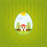 One easter eggs, vector. One easter egg over  green background, vector illustration Royalty Free Stock Photos