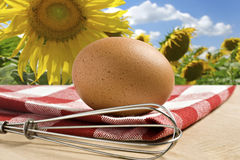 One Egg on a cloth against flower background Stock Images