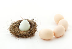 One egg inside the nest and other eggs outside Royalty Free Stock Images