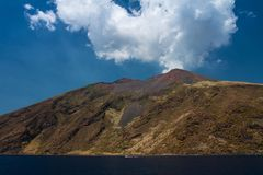 Stromboli  is a small island in the Tyrrhenian Sea. It is one of the eight Eolian Islands, a volcanic arc north of Sicily Royalty Free Stock Images