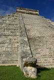 Detail of the Pyramid of Kukulkan Chichen Itza. Mexico. stock image