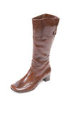One elegant modern brown boot on a white. Stock Photo