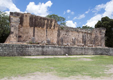 South Temple of the Great Ball Court, Chichen Itza. At one end of the Great Ball Court is the South Temple, which is in ruins. It is located in Chichen Itza, a royalty free stock images