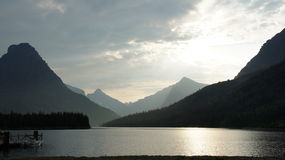 One end of Swiftcurrent Lake, Glacier National Park, Montana. Stock Images