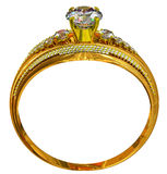 One engagement gold ring with jewelry gem. Stock Image