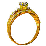 One engagement gold ring with jewelry gem. Royalty Free Stock Photos