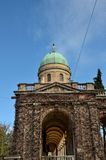 One entrance hallway and dome of Mirogoj Cemetery park Zagreb Croatia. Zagreb, Croatia - March 30, 2015: The Mirogoj Cemetery is a cemetery park which is a Stock Photography