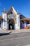 One of the entrances of the Fresh Food or Farmers Market with the typical Portuguese blue tiles called azulejos. Royalty Free Stock Photography