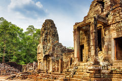 One of entrances to ancient Bayon temple, Angkor Thom, Cambodia. One of entrances to ancient Bayon temple in Angkor Thom, Siem Reap, Cambodia. Mysterious Angkor Royalty Free Stock Image