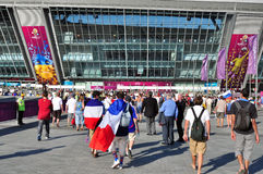 One of the entrances to the Donbass Arena Stock Photos