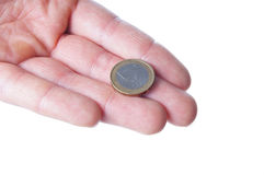 One Euro. A Hand with one Euro Royalty Free Stock Image