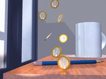 One  euro 3 d. Scene of the fall of the coins on table near window Stock Photo