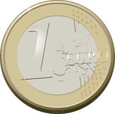 One euro. Coin of one Euro currency made by hand Stock Photo