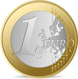 One Euro. All elements and textures are individual objects. Vector illustration scale to any size stock illustration