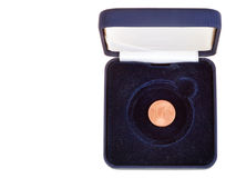 One euro cent in open black case Stock Image