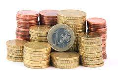 One euro and change Royalty Free Stock Image