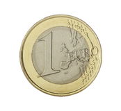One euro coin. Isolated on white Royalty Free Stock Photography
